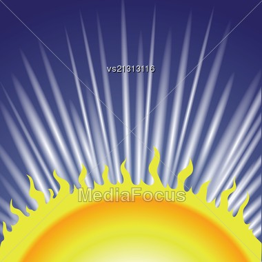Colorful Illustration With Sun For Your Design Stock Photo
