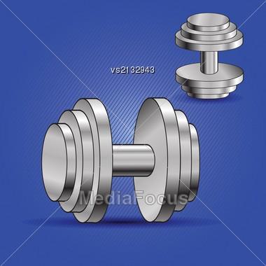 Colorful Illustration With Two Dumbbells On Blue Background For Your Design Stock Photo
