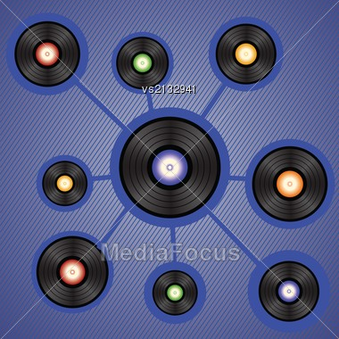 Colorful Illustration With Vinyl Records For Your Design Stock Photo