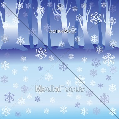 Colorful Illustration With Winter Forest For Your Design Stock Photo
