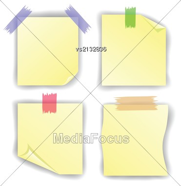 Colorful Illustration With Yellow Notice Papers Isolated On White Stock Photo