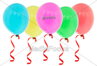 Colorful Inflatable Balloons Isolated On White Background Stock Photo
