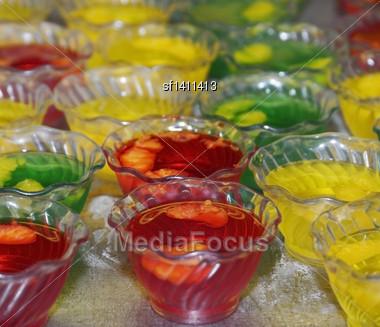Colorful Jello Desserts In Plastic Bowls Stock Photo