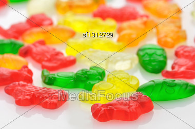 Colorful Jelly Candy, Close Up For Background Stock Photo