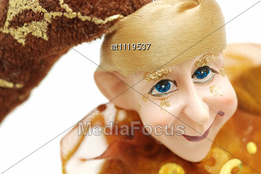 Colorful Jester Puppet With Bells Stock Photo