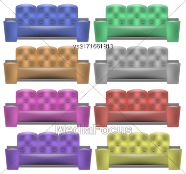 Colorful Leather Comfortable Soft Sofa Collection For Modern Living Room Isolated On White Background Stock Photo