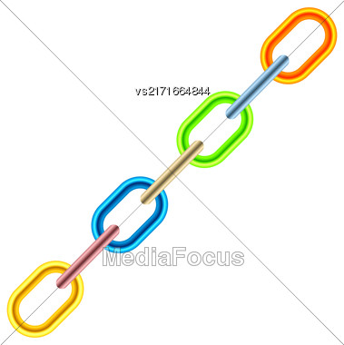 Colorful Metal Chain Isolated On White Background Stock Photo