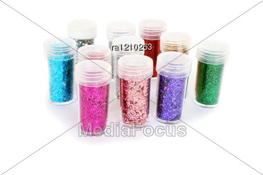 Colorful Nail Glitters Stock Photo