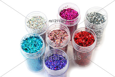 Colorful Nail Glitters Stock Photo