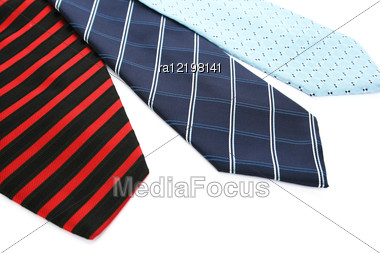 Colorful Neckties Isolated On White Background. Stock Photo