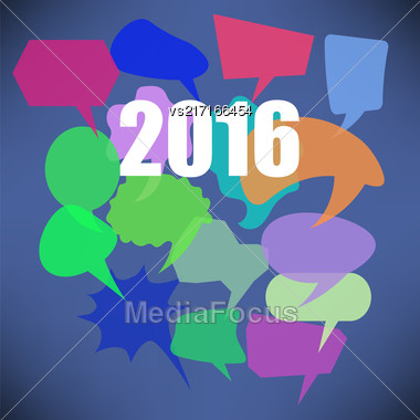 Colorful New Year Speech Bubbles On Blue Background Stock Photo