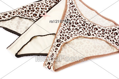 Colorful Panties Isolated On White Background. Stock Photo