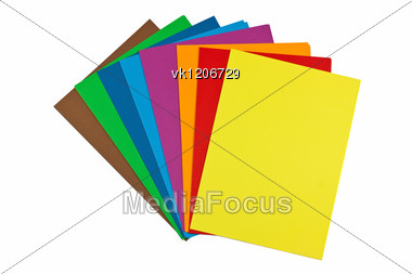colorful paper stacks Stock Photo