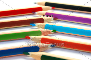 Colorful Pencils On White Background. Stock Photo