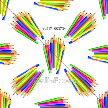 Colorful Pencils Isolated On White Background. Colored Pencils Seamless Pattern Stock Photo