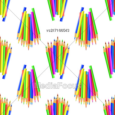Colorful Pencils Isolated On White Background. Colored Pencils Seamles Pattern Stock Photo