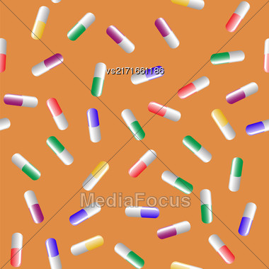 Colorful Pills Seamless Pattern Isolated On Orange Background Stock Photo