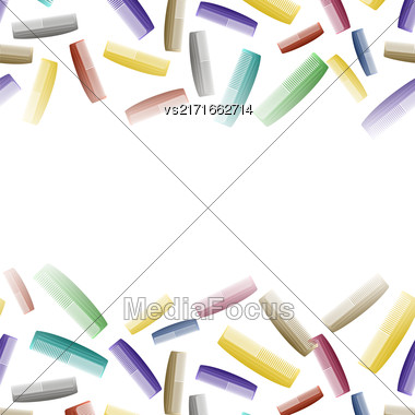 Colorful Plastic Combs Pattern On White. Barber Supplies Background Stock Photo