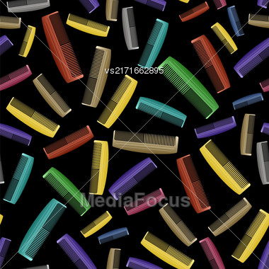Colorful Plastic Combs Seamless Pattern On Black. Barber Supplies Background Stock Photo