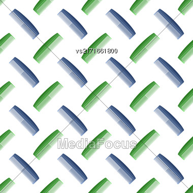 Colorful Plastic Combs Seamless Pattern On White. Barber Supplies Background Stock Photo