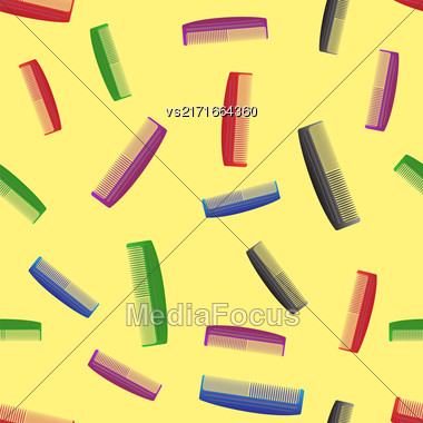 Colorful Plastic Combs Seamless Pattern On Yellow. Barber Supplies Background Stock Photo