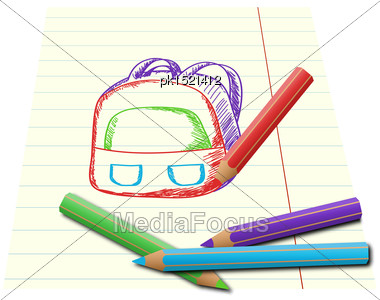 Colorful Pnecils Drawing School Backpack On Lined Paper Stock Photo