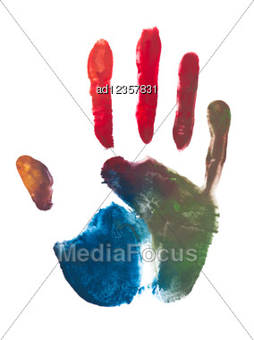 Colorful Print Of A Hand And Fingers Stock Photo