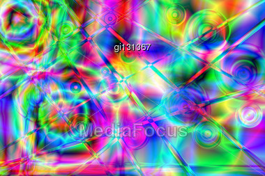 Colorful Psychedelic Background. Raster Illustrations Stock Photo