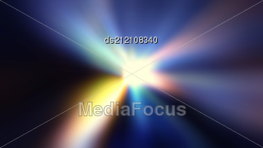 Colorful Ray Of Lights Explosion With Lens Glare Effect Stock Photo
