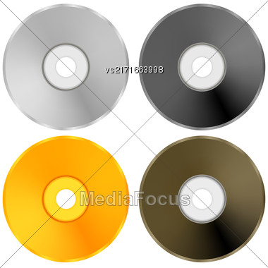 Colorful Realistic Compact Disc Collection Isolated On White Background Stock Photo