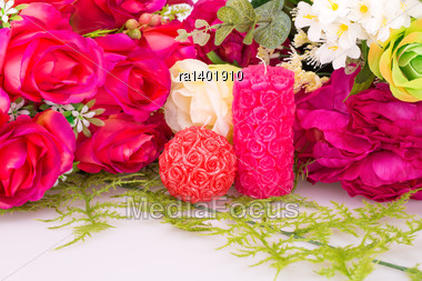 Colorful Roses And Candles Valentine Image Stock Photo