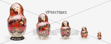 Colorful Russian Nesting Dolls Stock Photo