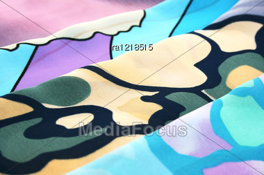 Colorful Scarfs As A Background. Stock Photo