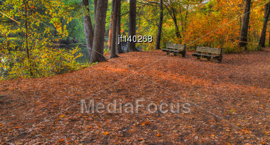 Colorful Scenic Landscape In High Dynamic Range With Bench Stock Photo