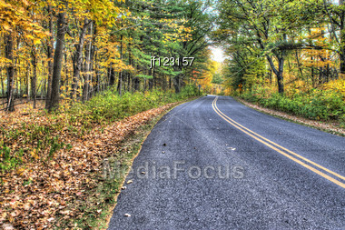 Colorful Scenic Landscape Of Road In High Dynamic Range. Stock Photo