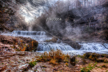 Colorful Scenic River And Powerful Waterfall In HDR Stock Photo