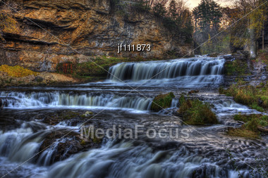 Colorful Scenic Waterfall In High Dynamic Range Stock Photo