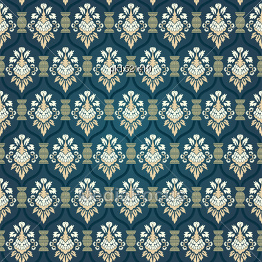 Colorful Seamless Damask Ornate Pattern Stock Photo
