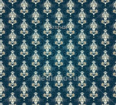 Colorful Seamless Damask Ornate Pattern Stock Photo