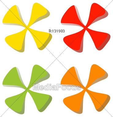 Colorful Set Leaf Symbol Icons Stock Photo