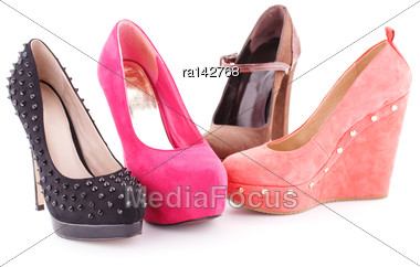 Colorful Shoes Isolated On White Background Stock Photo