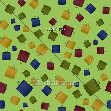 Colorful Shopping Paper Bag Seamless Pattern On Green Background Stock Photo
