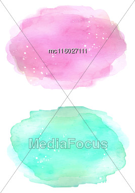 Colorful Soft Colors Watercolor Blue And Pink Texture Background. Wet Brush Aquarelle Painted Stains. Vector Illustration. Web, Design Card, Banner, Template, Print Design Stock Photo