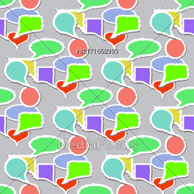 Colorful Speech Bubbles Pattern. Colored Stickers Seamless Background Stock Photo