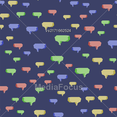 Colorful Speech Bubbles Seamless Pattern On Blue Background Stock Photo