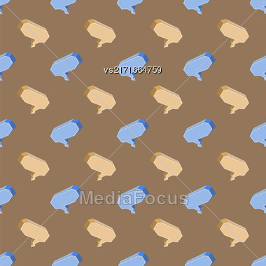 Colorful Speech Bubbles Seamless Pattern On Brown Background Stock Photo