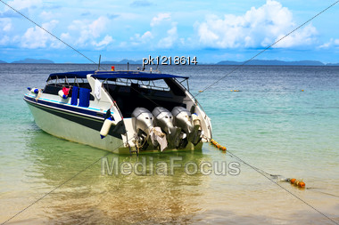 Colorful Speed Boat Near A Shore Of Sea. Stock Photo