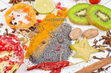 Colorful Spices - Beautiful Kitchen Image. Stock Photo