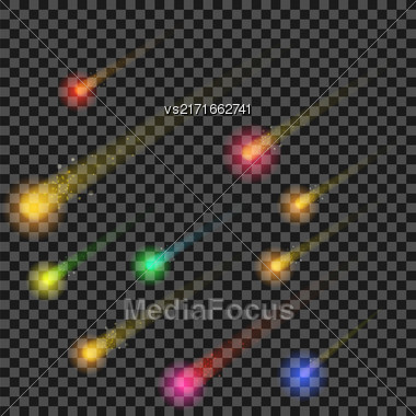Colorful Stars Isolated On Checkered Background. Hight Sky. Shooting Celestial Comets. Meteor Shower. Meteorites Falling Stock Photo