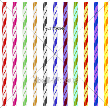 Colorful Striped Drinking Straws Isolated On White Background Stock Photo